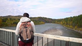 De vrouw de reiziger gaat langs de brug door de bergrivier Daling stock video