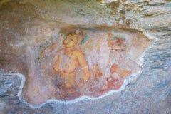 De vrouw schilderde op muur van hol, Sigiriya, Sri Lanka Royalty-vrije Stock Foto