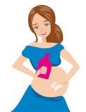 De vrouw smeert de maagremedie tegen zwangerschapsstrepen vector illustratie