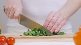 De vrouw snijdt een bos van peterselie op een scherpe raad stock video