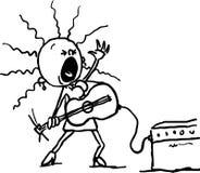 De vrouw speelt de gitaar en zingt - zwarte lijnvector Stock Afbeeldingen