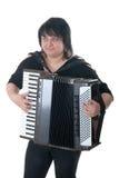 De vrouw speelt een harmonika stock afbeeldingen