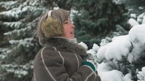 De vrouw stelt in de winter bos, mooi landschap met sneeuwsparren stock footage