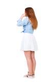 De vrouw stopt oren met zijn vingers, willend niet luisteren aan Royalty-vrije Stock Foto