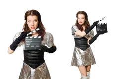 De vrouw in technologie-concept dat op wit wordt geïsoleerd Stock Foto's