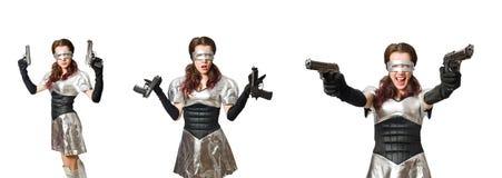De vrouw in technologie-concept dat op wit wordt geïsoleerd Stock Afbeeldingen