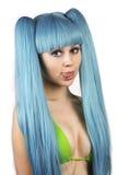 De vrouw van Ð ¡ Ute met blauw haar in bikini Stock Fotografie