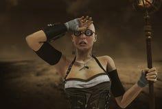 De vrouw van apocalypssteampunk Stock Afbeeldingen