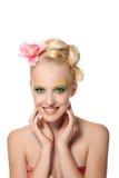 De vrouw van Beautyful met bloem stock afbeeldingen