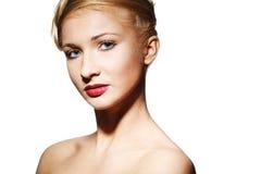 De vrouw van de aantrekkingskracht met helder make-up Royalty-vrije Stock Afbeeldingen