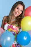 De Vrouw van de Ballons van de partij Royalty-vrije Stock Foto's