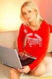 De vrouw van de blonde met laptop stock afbeeldingen
