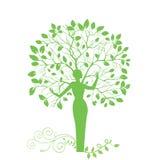 De vrouw van de boom Stock Foto