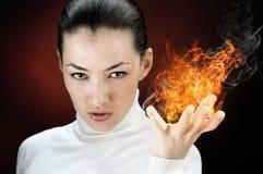 De vrouw van de brand stock afbeelding