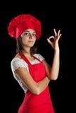 De vrouw van de chef-kok Stock Afbeeldingen