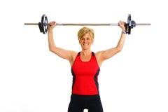 De Vrouw van de gezondheid en van de Geschiktheid met Gewichten Royalty-vrije Stock Afbeeldingen