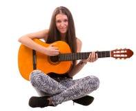 De vrouw van de gitaar Stock Foto