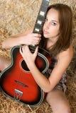 De Vrouw van de gitaar royalty-vrije stock foto