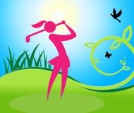 De Vrouw van de golfschommeling toont Vrouwengolfspeler en Golfing Stock Afbeelding