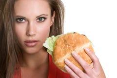De Vrouw van de hamburger Stock Afbeeldingen