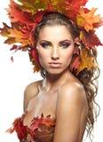 De Vrouw van de herfst. Stock Afbeelding
