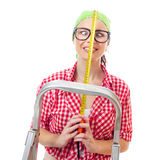 De vrouw van de huisarbeider Stock Foto