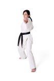 De vrouw van de karate het stellen royalty-vrije stock afbeelding