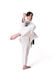 De vrouw van de karate het stellen stock foto