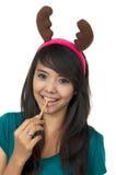 De Vrouw van de kerstman eet Wafeltje stock foto