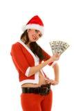 De vrouw van de kerstman met geld Stock Fotografie