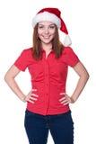 De vrouw van de kerstman over witte achtergrond Royalty-vrije Stock Foto