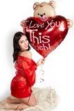 De vrouw van de liefde en van de valentijnskaartendag Stock Fotografie