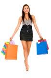 De vrouw van de manier met het winkelen zakken Stock Afbeelding