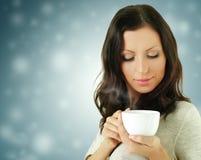 De vrouw van de manier met koffie Stock Foto