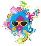 De vrouw van de manier met zonnebril stock illustratie