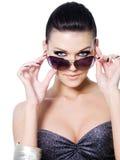 De vrouw van de manier met zonnebril Royalty-vrije Stock Afbeelding