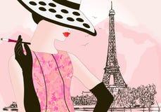 De vrouw van de manier in Parijs Stock Foto