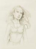 De vrouw van de mysticus Potlood dat op oud document trekt royalty-vrije illustratie