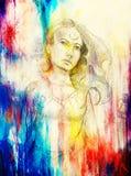 De vrouw van de mysticus potlood die op document, Kleureneffect trekken vector illustratie