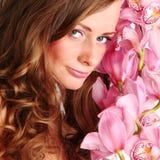 De vrouw van de orchidee stock afbeelding