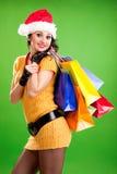 De vrouw van de pret met kleurenpakketten Stock Afbeeldingen