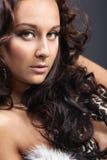 De vrouw van de schoonheid in het portret van de lingerieclose-up Stock Afbeelding