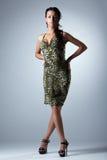 De vrouw van de schoonheid in het sexy portret van de kledingsstudio Stock Fotografie