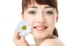 De vrouw van de schoonheid met bloem Stock Afbeelding