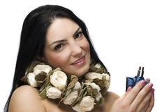 De vrouw van de schoonheid met parfum Royalty-vrije Stock Afbeelding