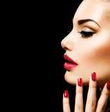 De Vrouw van de schoonheid met Perfecte Make-up Stock Foto's