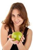 De vrouw van de schoonheid met verse groene appel Royalty-vrije Stock Afbeelding