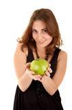 De vrouw van de schoonheid met verse groene appel Royalty-vrije Stock Foto's