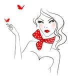 De vrouw van de schoonheid met vlinder Royalty-vrije Stock Foto