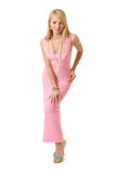 De vrouw van de schoonheid in roze avondjurk. Royalty-vrije Stock Foto's